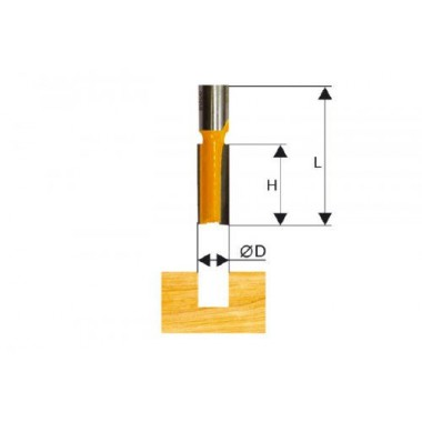 Фреза пазовая прямая D16 Энкор (хвостовик 12мм)